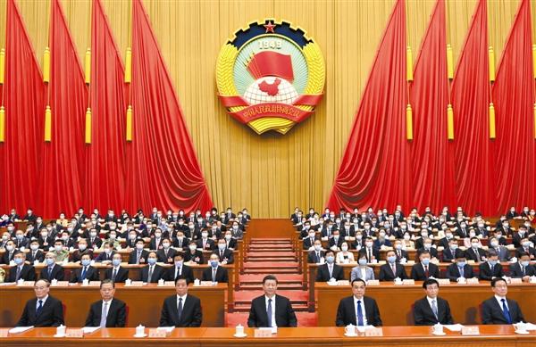 5月21日,中国人民政治协商会议第十三届全国委员会第三次会议在北京人民大会堂开幕。这是习近平、李克强、栗战书、王沪宁、赵乐际、韩正、王岐山在主席台就座。新华社记者李学仁